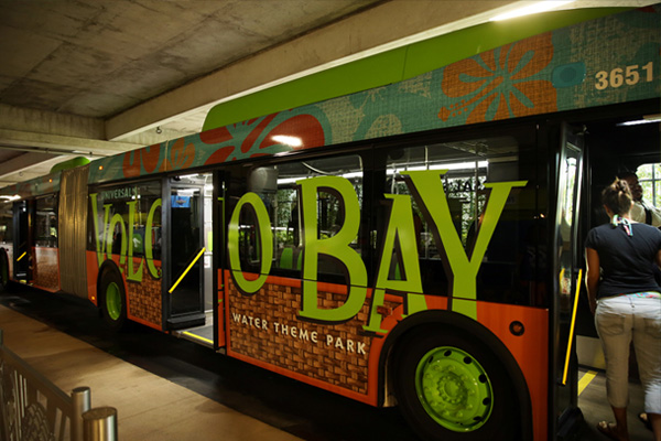 One way to get to Universal's Volcano Bay is via bus