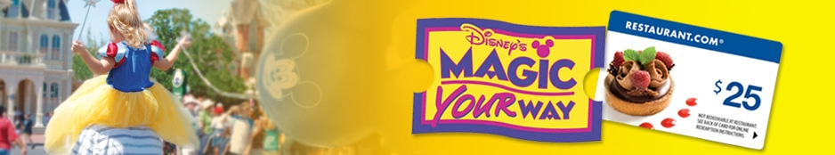 DISNEY WORLD 1-DAY MAGIC KINGDOM® W/ $25 RESTAURANT.COM GIFT CARD Header Image