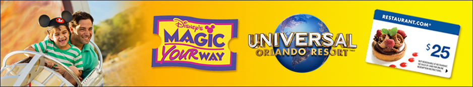 Disney World 1-Day Magic Kingdom/Universal Orlando Resort™ 1-Day Combo w/ $25 Restaurant.com Gift Card Header Image