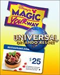 Disney World 1-Day Magic Kingdom/Universal Orlando Resort™ 1-Day Combo w/ $25 Restaurant.com Gift Card